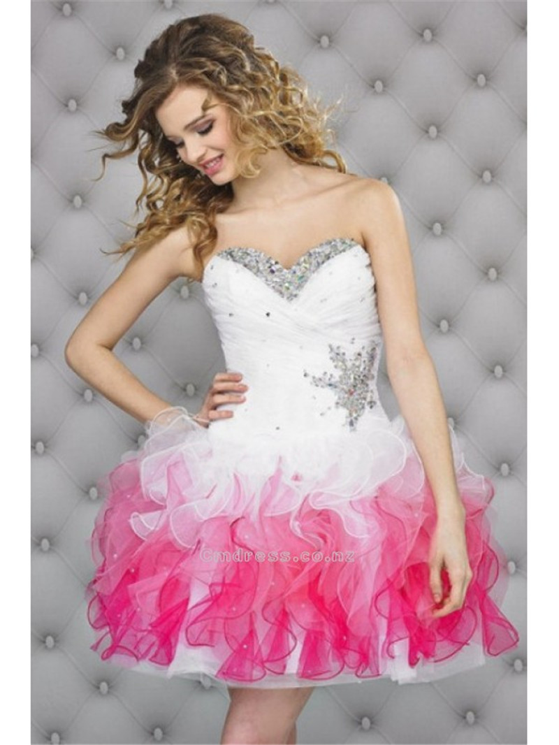 2015 Hot Sale Pink And White Cute Homecoming Dresses Ball Gowns ...