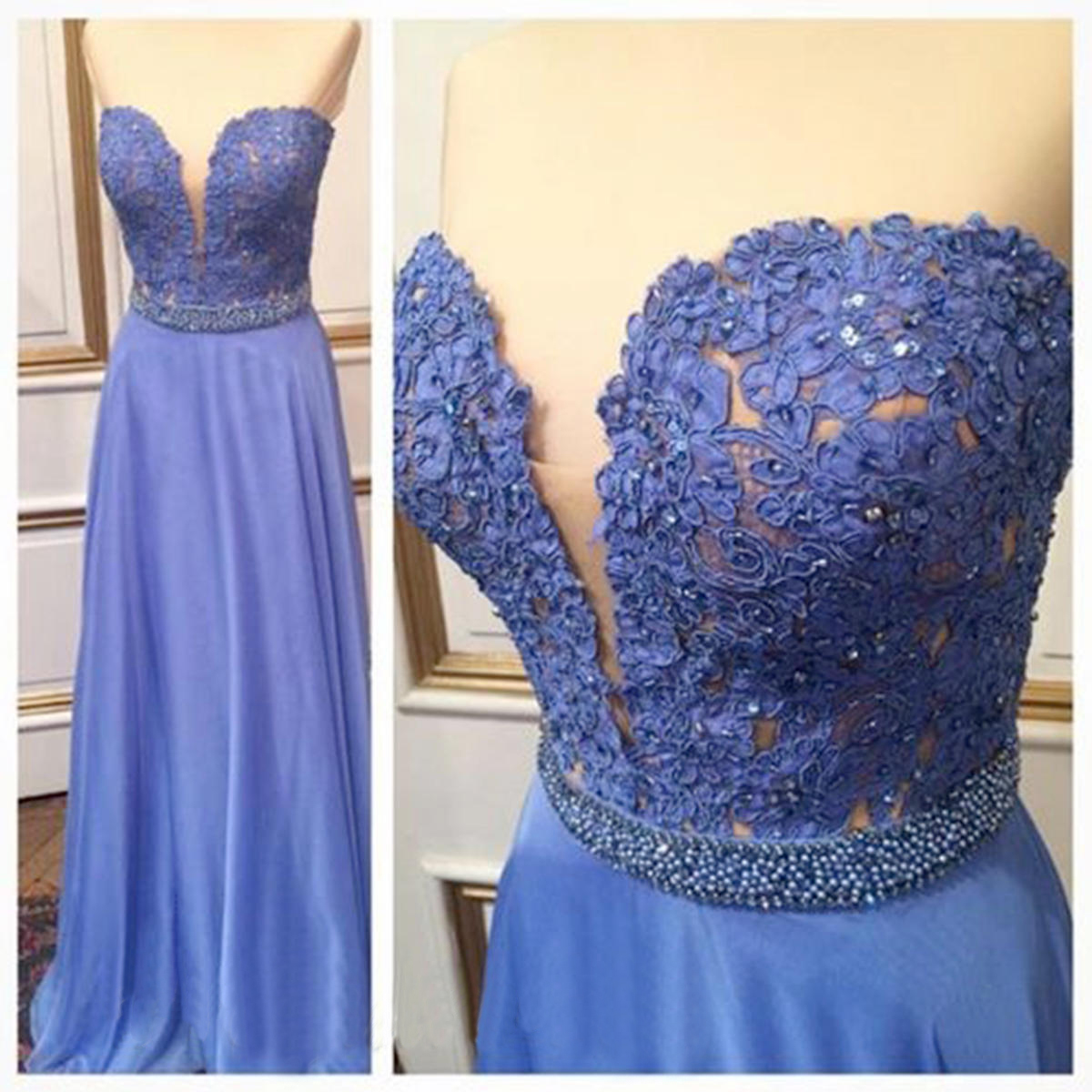 Charming Prom Dress,2016 A-Line Prom Dress,Chiffon Prom Dress,Lace Prom Dress,Sweetheart Evening Dress