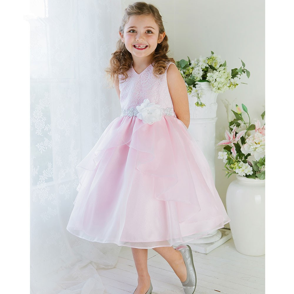 New Hot Sale Organza Flower Girl Dress of V-neck A-line Pageant Dresses For Girls Dress