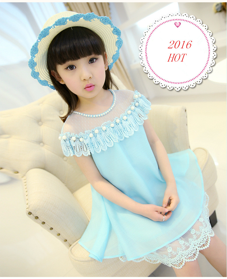 2016 Girls Dresses Summer Children's Princess Skirt Children's Clothing New Mint Lace Chiffon Dress F-0046