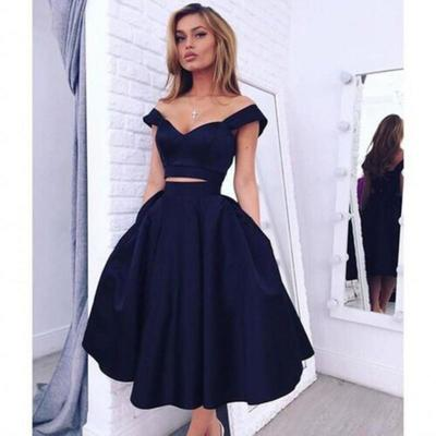 2016 Cheap Two Pieces Homecoming Dresses Party Dresses Off The Shoulder Sexy Black Girl Prom Dress Tea Length Black Graduation Dress Cheap