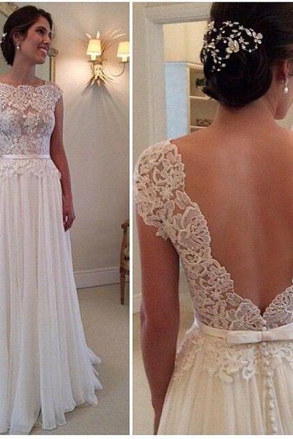 Open Back Wedding Dress Sabrina Neckline Sheer Lace Bodice Bridal Gown 2017