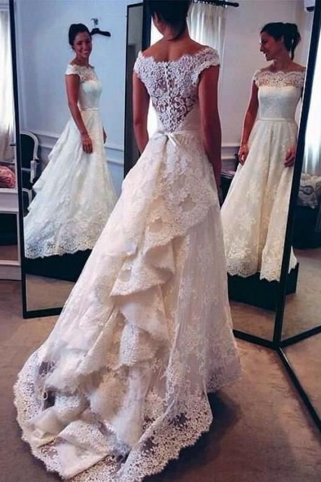 Lace Wedding Dress Sabrina Neckline Vintage Bridal Dress wtih Removable Sash 2017