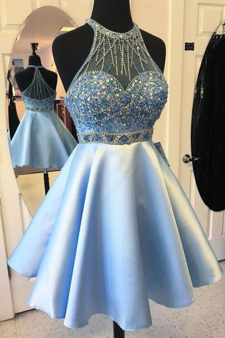 Charming Beaded Homecoming Dresses,Light Blue Satin Hoco 2017 Dresses