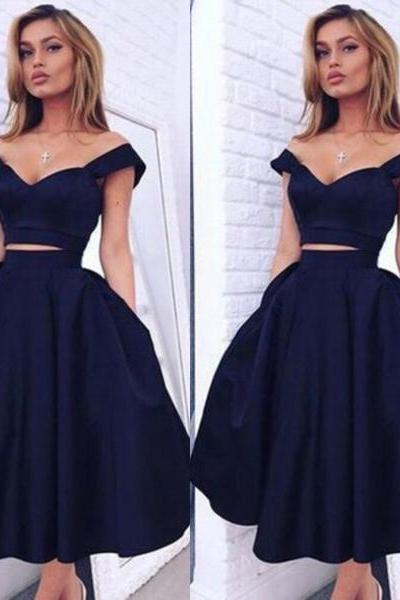 Two-piece Straps Tea-length Black Elastic Satin Homecoming Dress with Ruched