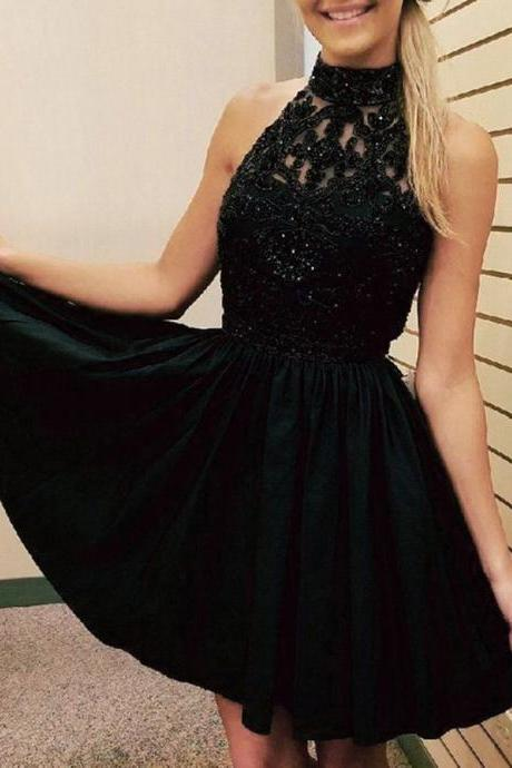 A-Line High Neck Sleeveless Black Homecoming Dress with Beading Appliques