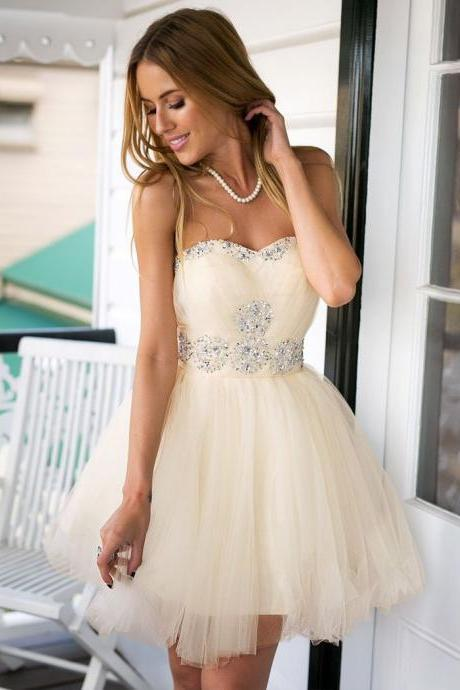 Cute Sweetheary Tulle Homecoming Dress Champagne Homecoming Dress Cheap Homecoming Dress