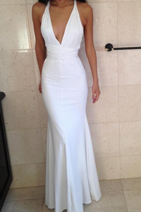 Prom Dress,Sexy Evening Gowns White Deep V Neck Mermaid Prom Dresses, Formal Gown, Evening Dress,Cocktails Dress,Homecoming Dresses, Formal Occasion Dresses,Formal Dress