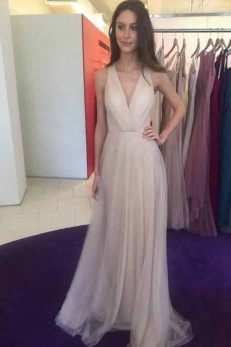 Bridesmaid Dresses,Custom Bridesmaid Dresses,Bridesmaid Dresses Long,Bridesmaid Dresses 2017,Prom Dresses,Simple A-Line V-Neck Sleeveless Floor-Length Bridesmaid Dress