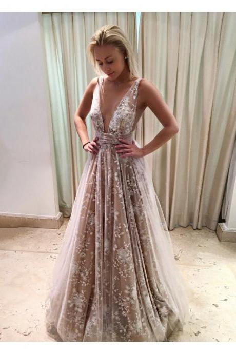 2018 Hot Evening Dress A-Line Deep V-Neck Long Backless Champagne Tulle Prom Dress with Lace Prom Gowns Cheap