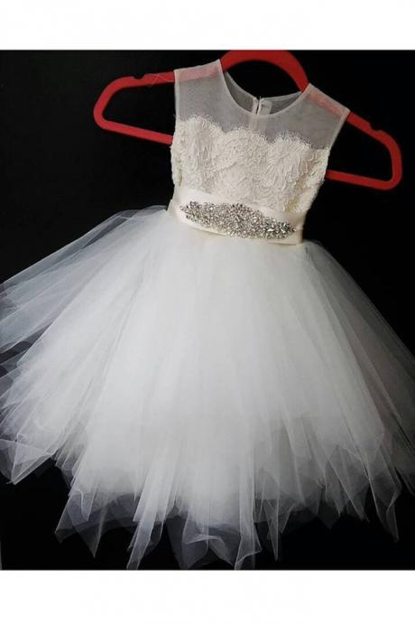 Cute ivory organza A-line sequins short girls dress with straps