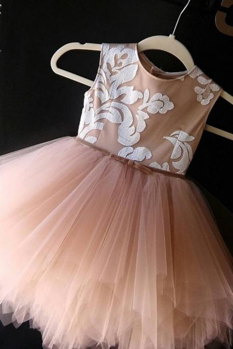 Cute princess champagne Tulle A-line applique girls dress with straps