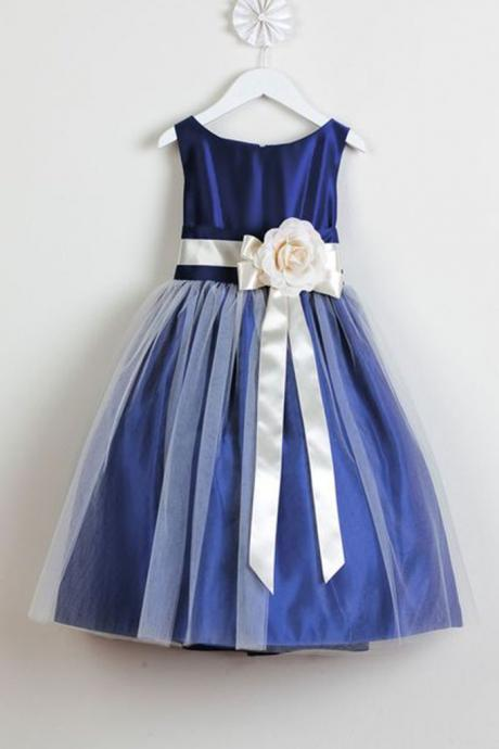 Navy satins tulle handmade flowers round neck A-line girls dress with straps