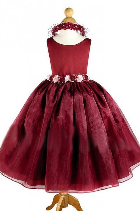 Crimson organza handmade flowers round neck A-line cute girls dress with straps