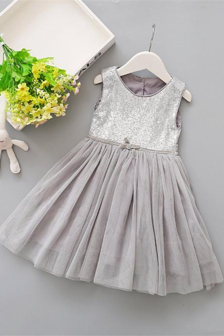 Colorful tulle round neck sequins halter girls dress