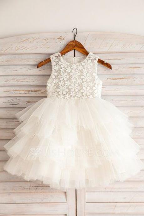 Cute white lace top round neck organza girls dress