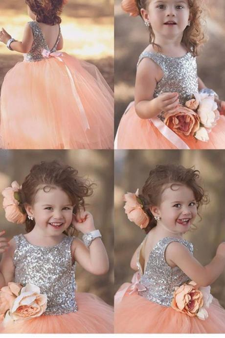 Formal Long Flower Girl Dresses Children Birthday Dress Sequin Kids Wedding Party Dresses 2018
