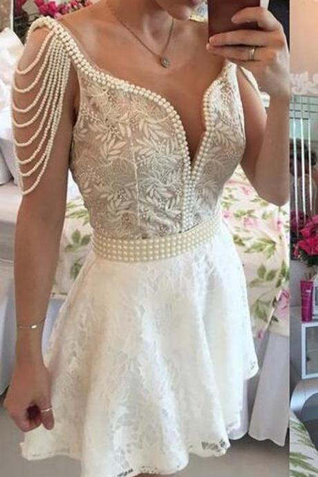 Lace Pearls Party Dress