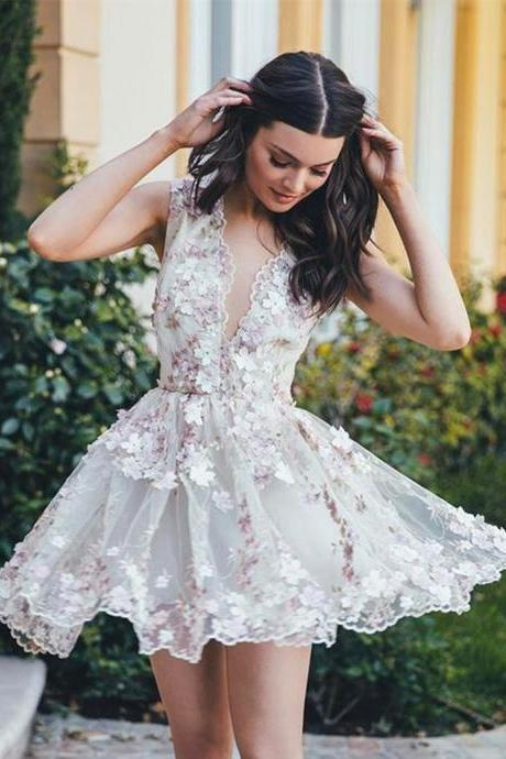 Deep V-neck Lace Flowers Party Dress