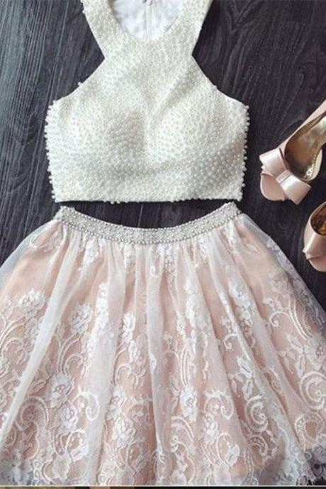 Two Piece Lace Pearls Homecoming Dress,party dress,homecoming dress,short party dress,Lace Homecoming Dress,Two Piece Homecoming Dress