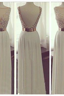 New Arrival White Chiffon Open Back Long Prom Dresses See Through Beadings Sheath Full Length Evening Prom Dress Handmade Backless Sexy Prom Gown Graduation Dress Beach Wedding Dress