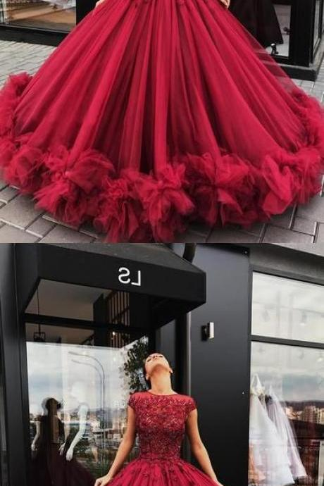 Charming burgundy party dress, tulle long prom dress, cap sleeves prom dress 17074