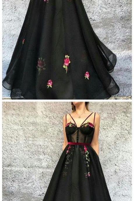 Black A-line Long Prom Dress,Elegant Evening Dress 2018