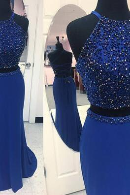 Long Formal Prom Dress, Sparkly Beaded Prom Dress,Chiffon prom Dress,Sexy Dark Blue Long Evening Dress, Two Piece Party Dresses