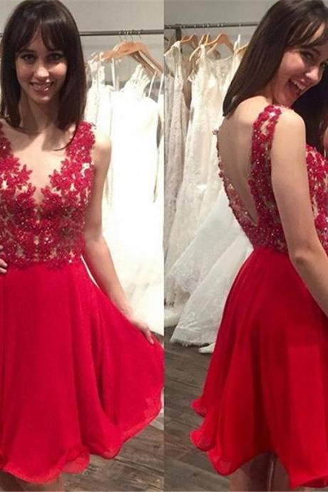 V-Neck Backless Sleeveless Homecoming Dress,Red Appliques Beading Homecoming Dresses