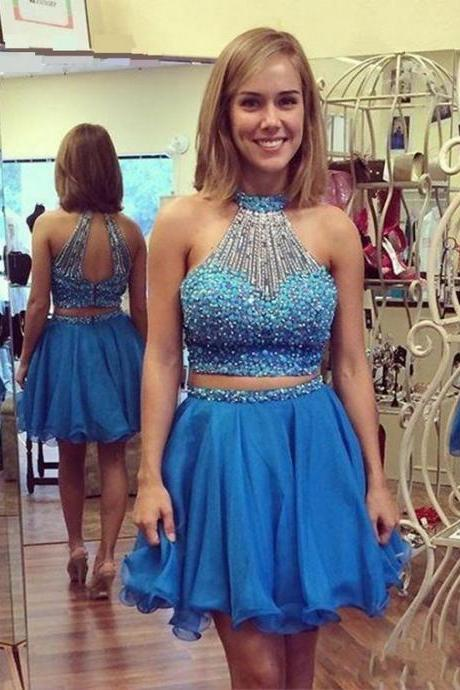 Two Piece Blue Homecoming Dress,Short Blue Prom Dress,Blue Two Piece Graduation Dress,Beaded Halter Neckline Two Piece Party Dress