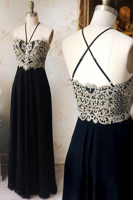 Fashion A-Line Prom Dress,Spaghetti Straps Black Prom Dresses,Long Prom Dress With Appliques