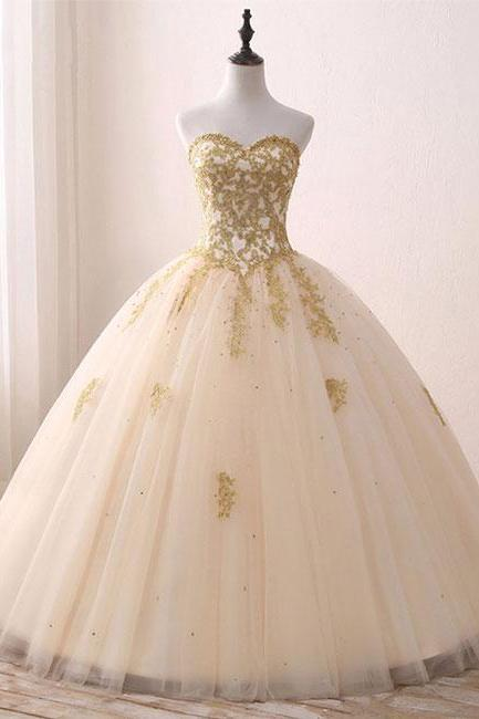 Strapless Sweetheart Tulle Ball Gown Wedding Dress, Prom Dress with Gold Appliques and Lace-Up Back