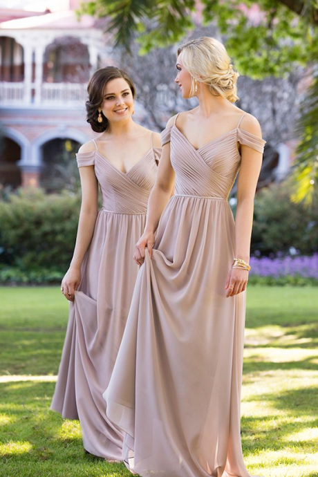 Pink Simple Cold-Shoulder Ruched A-line Floor-Length Chiffon Bridesmaid Dress