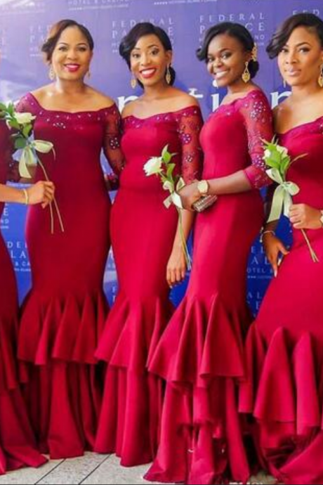 Nigeria Dark Red Mermaid Bridesmaid Dresses Beaded Sheer Long Sleeve Tiered Maid Of Honor Gowns Plus Size Ruffles Wedding Guest Dresses