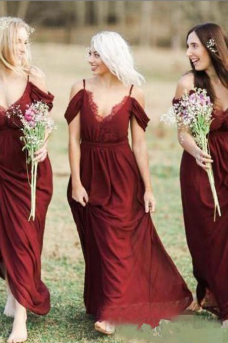 Bohemian Country Dark Red Chiffon Bridesmaid Dresses Sexy Spaghetti Lace Wedding Guest Dress Simple Cheap Special Occasion Dress