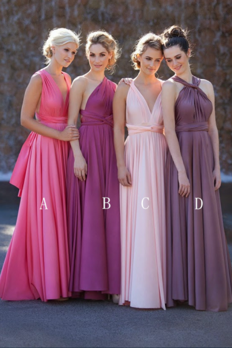 Convertible A-line Floor-Length Chiffon Bridesmaid Dress