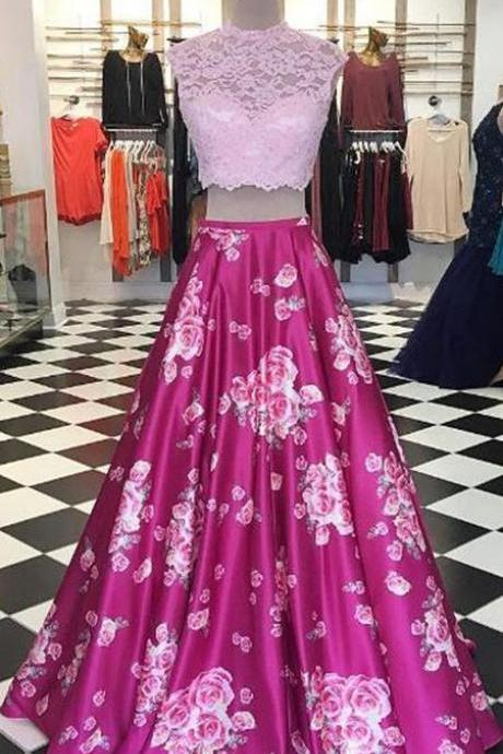 Modern Two Piece A-Line Prom Dress - Round Neck Sleeveless Floor-Length Lace Floral