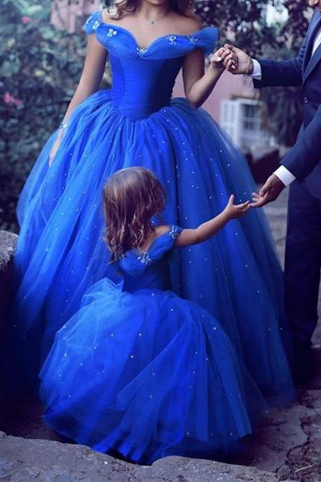 Royal Blue Sparkle Off Shoulder Ball Gown Wedding Dresses, Flower Girl Dresses