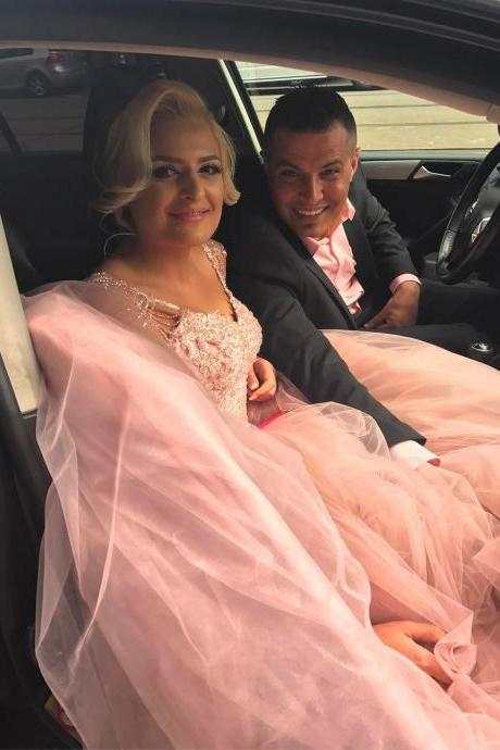 Wedding Dress , Lovely Pink Ball Gown Wedding Dress with Beading Cap Sleeves 2018