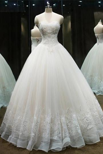 Sweetheart Beaded Appliques Ball gown Wedding Dress 2018