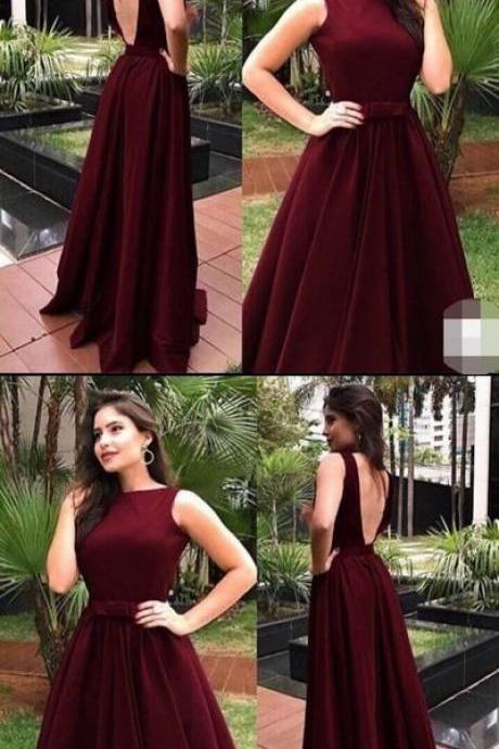Popular Burgundy Open Back Long Prom Dresses,Sleeveless A-Line Party Evening Gown,Cheap Custom Made Prom Dresses