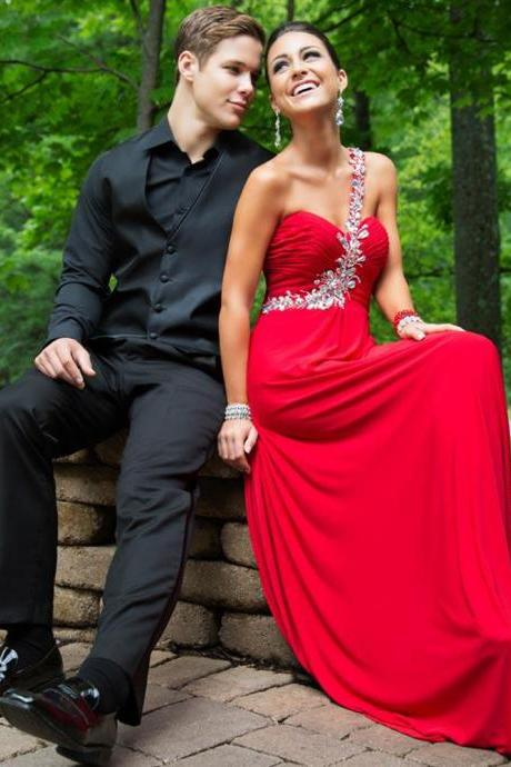 One Shoulder Red Chiffon prom Dresses Crystals Women Party Dresses