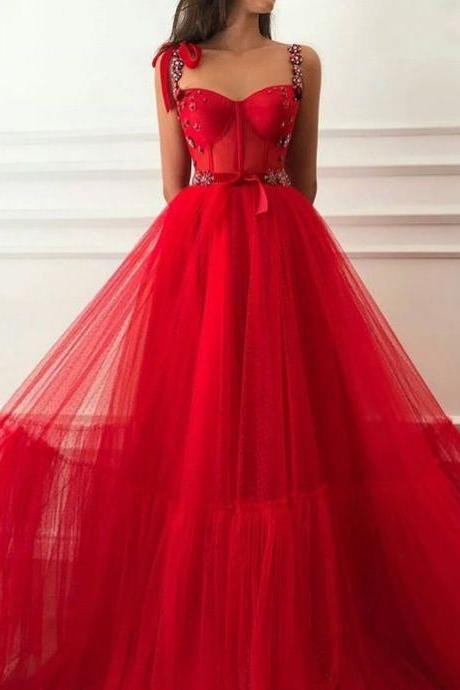 Red sweetheart neck Prom Dress, Flowers Prom Dress, Elegant Prom Dress, A Line Prom Dress, Elegant Prom Dress