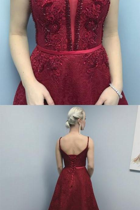 A-Line ,Spaghetti Straps ,Sweep Train ,Burgundy Lace Prom Dress