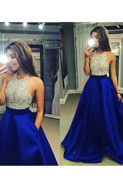 2016 Hot Charming Prom Dress V-Neck Prom Dress A-Line Prom Dress Organza Prom Dress Noble Evening Dress2016 Hot Super Sexy High Neck Criss Cross Back Long Chiffon Prom Dress