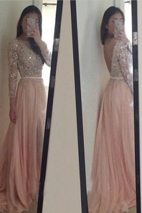 2016 Sparkle Exquisite Pink Prom Dresses,Long Sleeves Beadings & Crystal Chiffon Prom Dress Hot