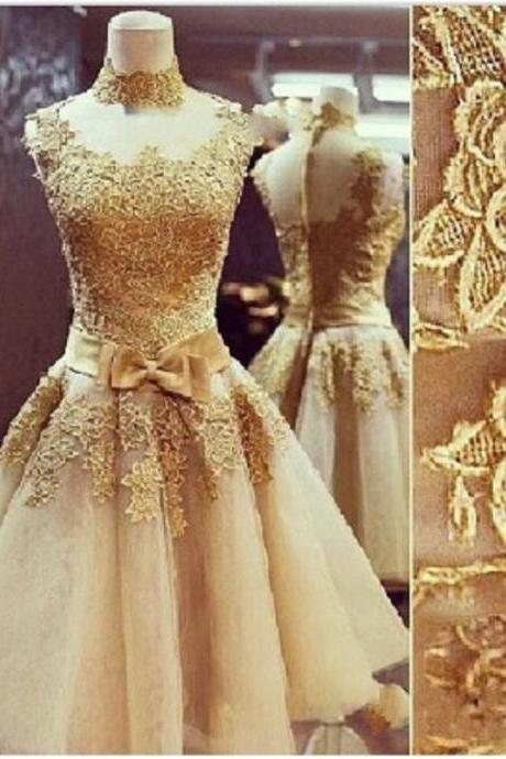 2016 Vintage Gold Lace Organza Ball Gown Prom Dresses Formal High Neck Sexy Women Evening Gowns Vestidos De Fiesta Custom Made