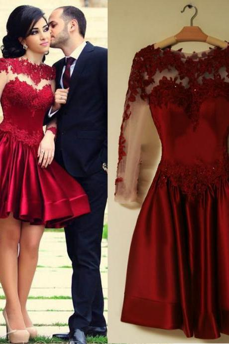 2016 Burgundy Long Sleeve Prom Dresses 2016 Scoop Neckline A-line Sexy Backless Short Black Puffy Lace Prom Dress Evening Gown Stock