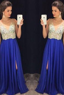 2016 Charming Prom Dress,A-Line Prom Dress,Chiffon Prom Dress,V-Neck Prom Dress,Beading Evening Dress