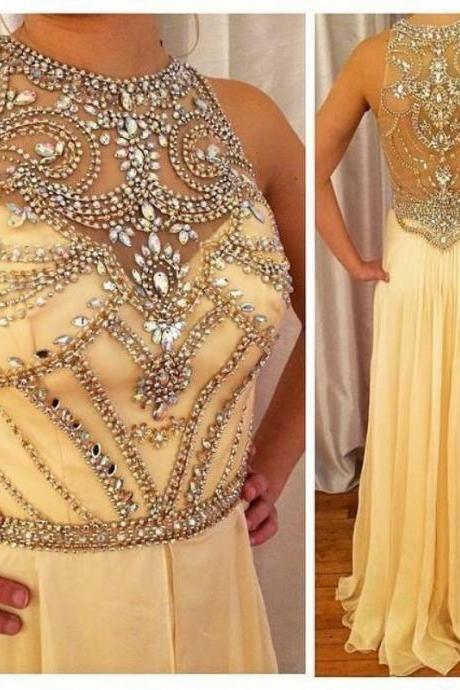 Sexy High handmade custom Charming Prom Dress,A-Line Prom Dress,Chiffon Prom Dress,Prom Dress,Beading Evening Dress